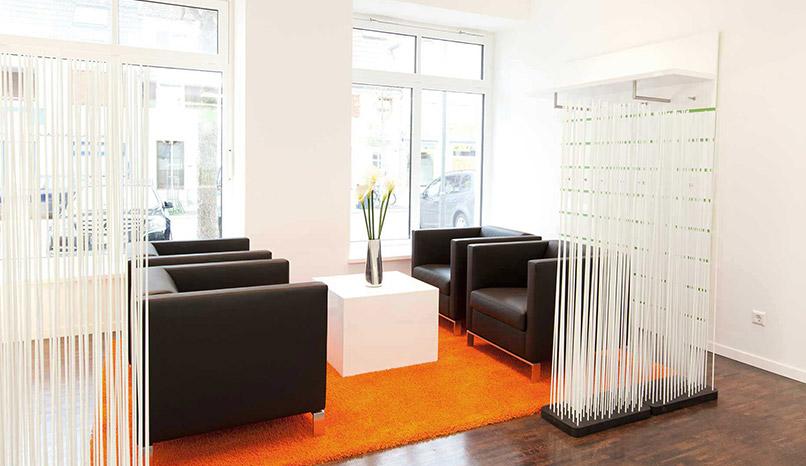 Wartebereich von Zahnwerk Rehbein, Zahnarztpraxis. Ihre Zahnarztpraxis für Leipheim, Günzburg, Langenau.