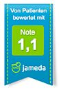 Jameda Note 1,1 für Dirk Rehbein von Zahnwerk Rehbein. Ihre Zahnarztpraxis für Leipheim, Günzburg, Langenau.